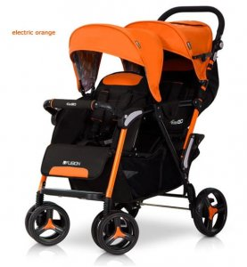 Wózek Bliźniaczy Spacerowy  EasyGo Fusion Electric Orange